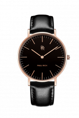Reloj dorado para mujer Paul Rich con correa de cuero genuino Monaco Black Gold - Black Leather