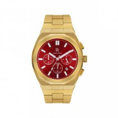 Goldene Herrenuhr Paul Rich mit Stahlband Motorsport - Red Gold Steel