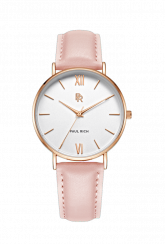 Ladies gold Paul Rich watch with genuine leather strap - Pink Leather