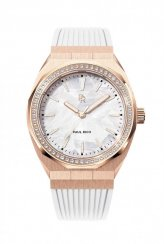 Montre femme en or avec bracelet en caoutchouc Heart of the Ocean - White Rose Gold Pink Swarovski Crystals