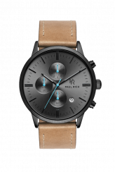 Zwart Paul Rich-herenhorloge met lederen band Argon - Leather