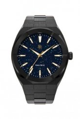 Schwarze Herrenuhr Paul Rich mit Stahlband Star Dust - Black 45MM