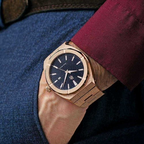 Roségoldene Paul Rich mit Stahlarmband Star Dust Frosted - Rose Gold Automatic 45MM