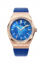 Montre femme en or rose avec bracelet en caoutchouc Heart of the Ocean - Blue Rose Gold Pink Swarovski Crystals