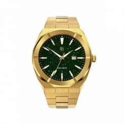 Miesten kultakello Paul Rich teräshihnalla Star Dust - Green Gold Automatic
