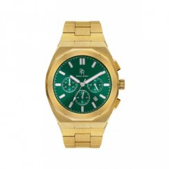 Goldene Herrenuhr Paul Rich mit Stahlband Motorsport - Green Gold Steel