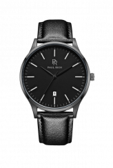 Men's black Paul Rich watch with genuine leather strap Onyx - Leather