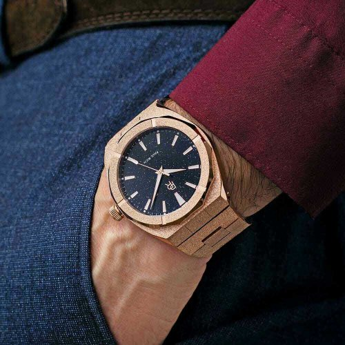 Roségoldene Herrenuhr Paul Rich mit Stahlband Star Dust Frosted - Rose Gold 45MM