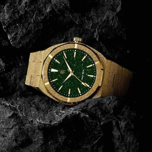 Goldene Herrenuhr Paul Rich mit Stahlband Frosted Star Dust - Gold Green 42MM