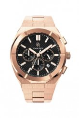 Paul Rich rosegold men's watch with a steel strap Motorsport - Carbon Fiber Rose Gold